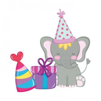 Netter und kleiner elefant mit partyhut