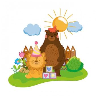 Netter und kleiner löwe mit partyhut