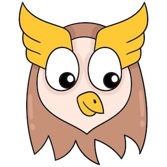 Netter und lustiger eulenkopf, vektorillustrationskunst. doodle symbolbild kawaii.