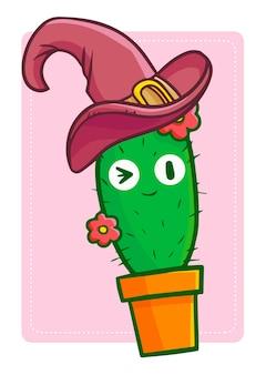 Netter und lustiger kawaii kaktus mit blume, die hexenhut für halloween trägt.