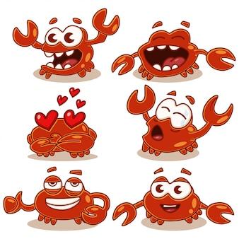 Netter und lustiger krabbenzeichensatz der karikatur lokalisiert auf weiß. meer und ozean tiere.