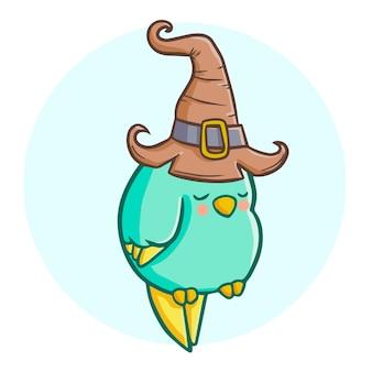 Netter und lustiger schlafender fetter vogel, der hexenhut für halloween trägt.