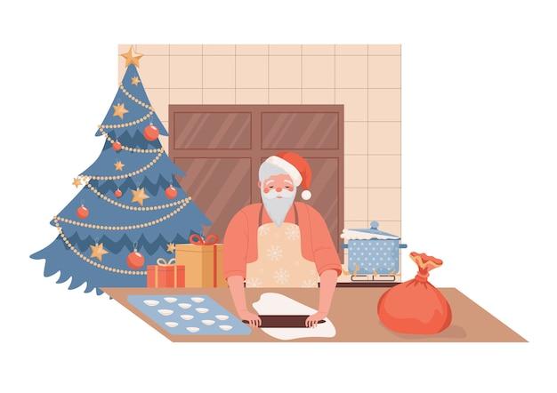 Netter und ruhiger weihnachtsmanncharakter, der weihnachtsgeschirrillustration kocht.
