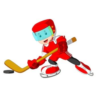 Netter und spielerischer Karikaturjungen-Hockeyspieler