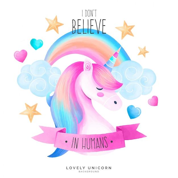 Netter unicorn-hintergrund mit zitat