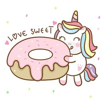 Netter unicorn vector, der donut hält