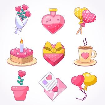 Netter valentinstag-elementsatz