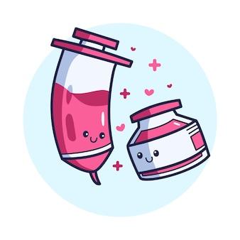 Netter valentinstag-impfstoff in der liebeskarikatur
