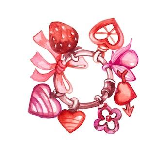 Netter valentinstaghintergrund des aquarells