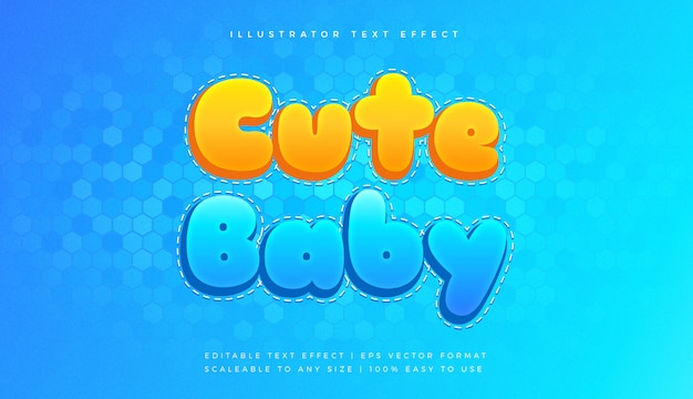 Netter verspielter baby-text-stil-schrifteffekt