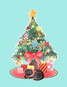 Netter verzierter chrisrmas-baum mit schwarzer katzenillustration