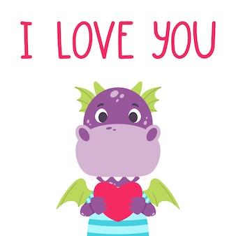 Netter violetter drache mit herzen und hand gezeichnetem beschriftungszitat - ich liebe dich. valentinstag-grußkarte.