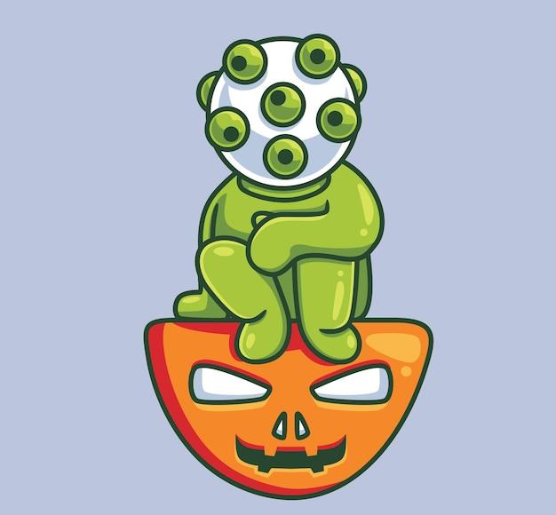Netter virus, der auf kürbis sitzt isolierte cartoon-halloween-illustration flat style