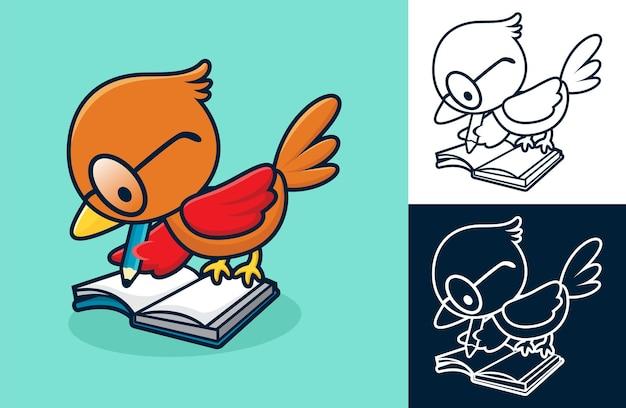Netter vogel benutzt brille, die in ein buch schreibt. karikaturillustration im flachen ikonenstil