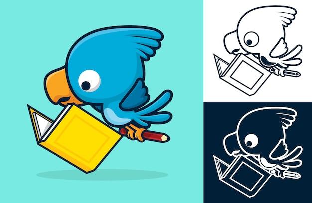 Netter vogel, der ein buch liest, während er bleistift in seinen füßen trägt. karikaturillustration im flachen ikonenstil
