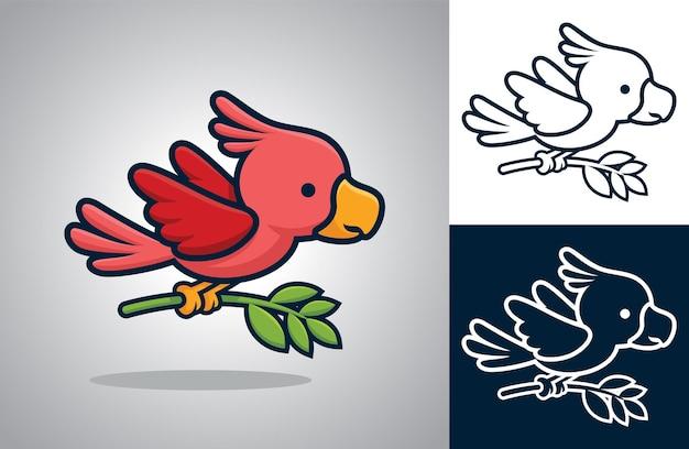 Netter vogel, der fliegt, während blatt in seinen füßen trägt. karikaturillustration im flachen ikonenstil