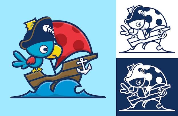 Netter vogel, der piratenhut auf segelboot trägt. karikaturillustration im flachen ikonenstil