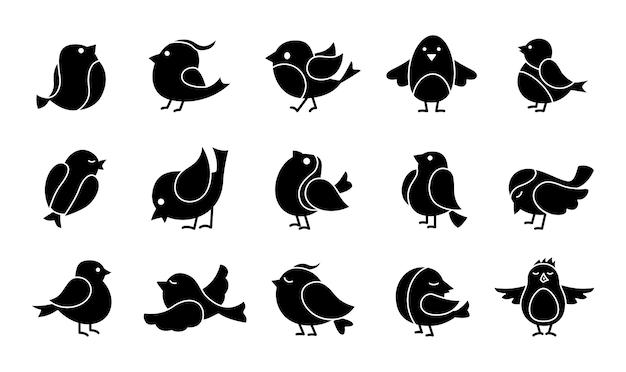 Netter vogel glyph cartoon satz. schwarze kleine vögel, verschiedene posen, fliegen. glücklicher charakter. hand gezeichnete flache abstrakte ikone. modern trendy