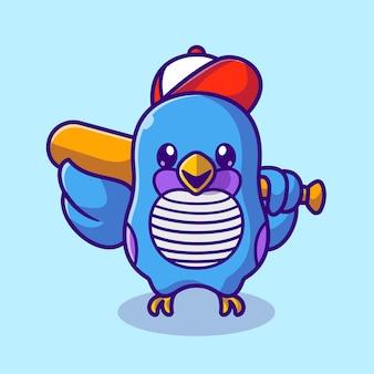 Netter vogel mit hut, der baseballschläger-karikatur-vektor-icon-illustration hält. tiersport-symbol-konzept isoliert premium-vektor. flacher cartoon-stil