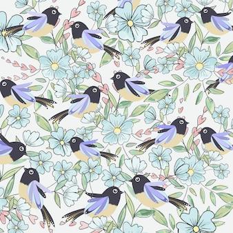 Netter vogel und hellblaue blume mit blatt