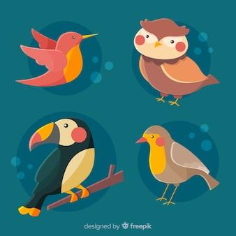 Netter vogelsammlungs-karikaturabgehobener betrag
