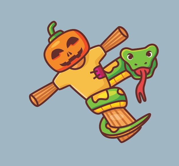 Netter vogelscheuchenkürbis, der von schlange gebunden wird. isolierte cartoon-tier-halloween-illustration. flacher stil geeignet für sticker icon design premium logo vektor. maskottchen-charakter