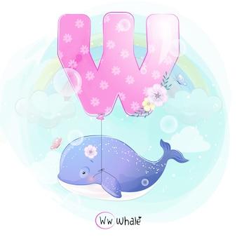 Netter wal, der mit alphabet-w-ballon fliegt