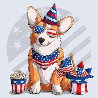 Netter walisischer corgi flauschiger pembroke-hund, der mit den amerikanischen unabhängigkeitstagelementen 4. juli und gedenktag sitzt