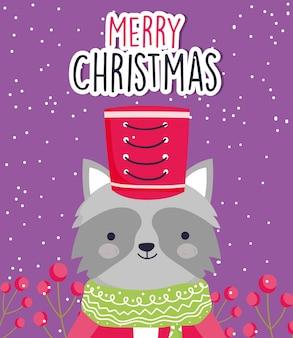Netter waschbär der feier der frohen weihnachten mit hut und schal
