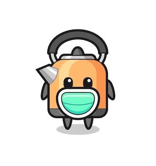 Netter wasserkocher-cartoon, der eine maske trägt, süßes design für t-shirt, aufkleber, logo-element