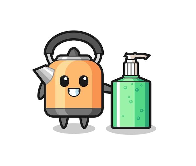 Netter wasserkocher-cartoon mit händedesinfektionsmittel, süßes design für t-shirt, aufkleber, logo-element