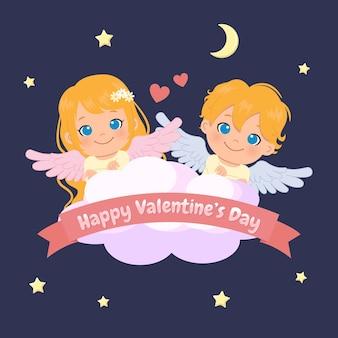 Netter weiblicher und männlicher engel am himmel. valentinstag. flacher cartoon-stil.