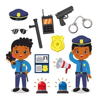 Netter weiblicher und männlicher polizist mit ausrüstungssatz.