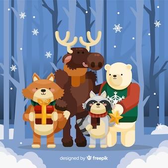 Netter weihnachts animales hintergrund