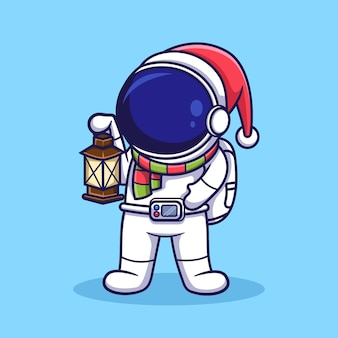 Netter weihnachtsastronaut, der laternen trägt. flache karikaturillustration.