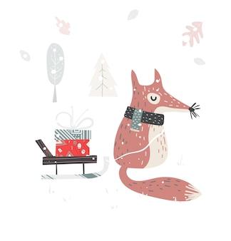 Netter weihnachtsbabyfuchs