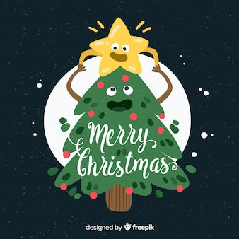 Netter weihnachtsbaum- und sternhintergrund
