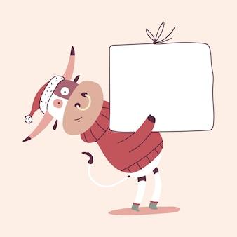 Netter weihnachtsbulle mit leerem schild der zeichentrickfigur