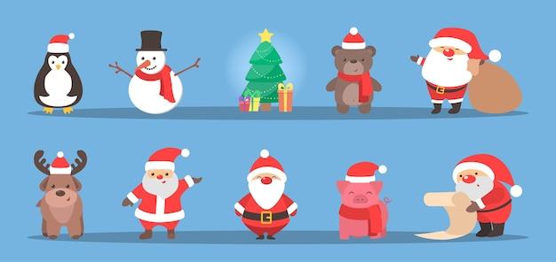 Netter weihnachtscharakter, der einen feiertagssatz feiert. weihnachtsmann und rentier, schneemann und schwein. weihnachtsfeier. flache vektorillustration