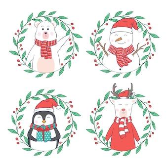 Netter weihnachtscharakter mit blumenkranz auf weißem hintergrund