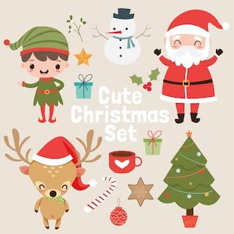 Netter weihnachtselement-vecter satz