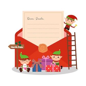 Netter weihnachtself mit großem umschlag und brief an santa-konzept