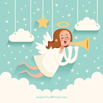 Netter weihnachtsengel hintergrund mit trompete
