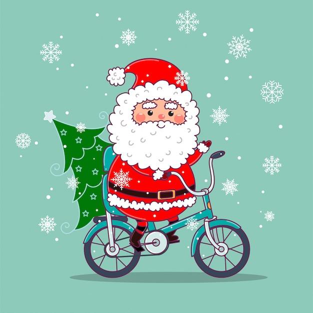 Netter weihnachtsmann auf dem fahrrad, das weihnachtsbaum liefert. weihnachtskartenauslegung mit sankt, die ein fahrrad reitet. vektorillustration in den flachen pastellfarben.