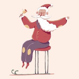 Netter weihnachtsmann auf schlitten-zeichentrickfigur