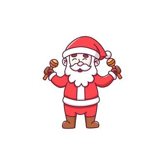 Netter weihnachtsmann-cartoon-charakter, der musikinstrument spielt