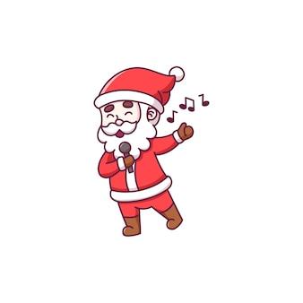 Netter weihnachtsmann-cartoon-charakter, der singt