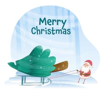 Netter weihnachtsmann, der anlässlich frohe weihnachten schlitten des weihnachtsbaums zieht.