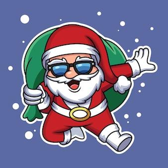 Netter weihnachtsmann, der ein weihnachtsgeschenk mit lustigem ausdruck trägt