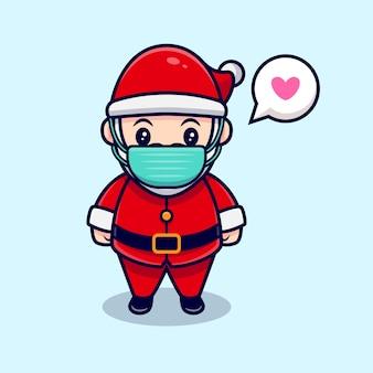 Netter weihnachtsmann, der eine masken-karikatur-symbol-illustration trägt. flacher cartoon-stil